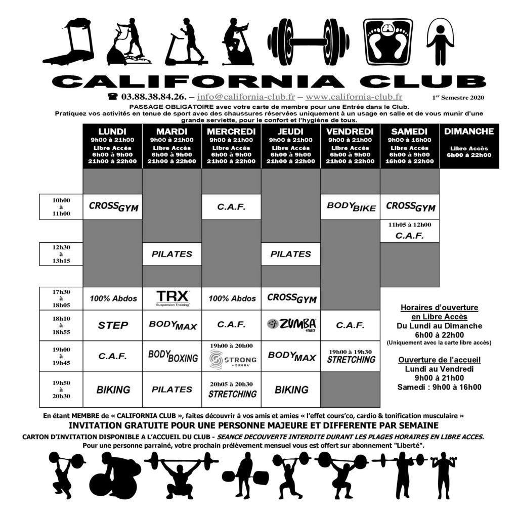 Planning des cours collectifs du California Club